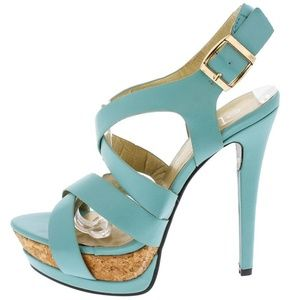Maker's Shoes - Manhattan9 Mint Open Toe Cork Platform Heels